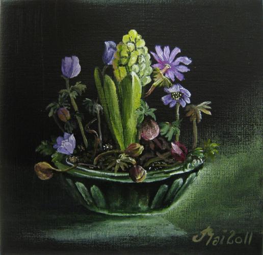 Hyacint og Blå anemoner 20 x20 cm Til Salg